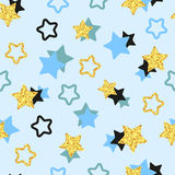 Vector background with golden, black and blue stars. Glittering stars seamless pattern. Vector background with golden, black and blue stars stock illustration