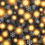 Vector background with golden falling snow on Royalty Free Stock Image