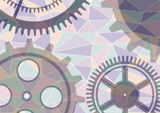 Vector background, graphic design. Vector illustration of gear wheel abstract background. Transparent banner with clockwork. Poligonal design. EPS10 Royalty Free Stock Photography