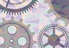 Vector background, graphic design. Vector illustration of gear wheel abstract background. Transparent banner with clockwork. Poligonal design. EPS10 vector illustration