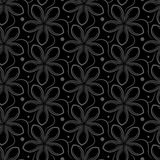 Vector background with gray seamless pattern of flowers Royalty Free Stock Photo