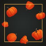 Vector greeting card. Yellow square frame with orange pumpkins on a dark background. stock illustration