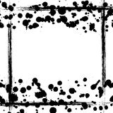 Vector background. Grunge drawn black and white template with splash, spray,border Stock Images
