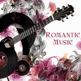 Vector background with guitar and flowers party flayer Stock Photo