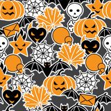 Vector background of Halloween-related objects and. Creatures Royalty Free Stock Photo