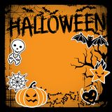 Vector background of Halloween-related objects and. Creatures Stock Photo