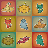 Vector background of Halloween-related objects and Royalty Free Stock Images