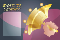 Vector background. The hand with a bell calling the school. Royalty Free Stock Photos