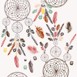 Vector background with hand drawn dream catcher in engraved styl Stock Photos