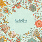 Vector background with hand-drawn flowers and butterflies around. Use for advertising, packaging, ads, postcards, invitation. Colored background for summer Royalty Free Stock Images