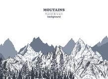 Vector background with hand drawn graphic mountain ranges royalty free stock images