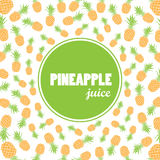 Vector background with hand drawn pineapples and label - pineapple juice. Vector background or banner Stock Image