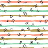 Vector background with hand drawn snowflakes, spots and stripes in pastel colors Royalty Free Stock Photos
