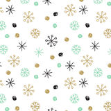 Vector background with hand drawn snowflakes, spots and stripes in pastel colors Royalty Free Stock Photography
