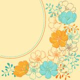Vector background with hand drawn stylish flowers Stock Photos