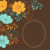 Vector background with hand drawn stylish flowers Stock Images