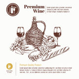 Vector background with hand drawn wine bottle, cheese, bread and Stock Photography