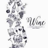 Vector background with hand drawn wine drawings. Royalty Free Stock Image