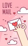 Vector background with hand and love letter. Thin line flat design banner Royalty Free Stock Photo