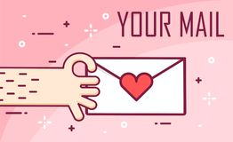 Vector background with hand and love mail. Thin line flat design banner for Valentine`s day.  royalty free illustration