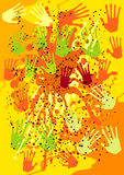 Vector background with the hand prints Royalty Free Stock Photo