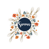 Vector background with handdrawn word summer in a circle frame with field flowers around. Vector retro background with handdrawn word summer in a circle frame Royalty Free Stock Image
