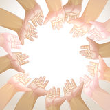 Vector background of hands Stock Photography