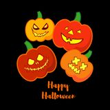 Vector background Happy Halloween. Halloween Party with pumpkins. Poster, postcard Stock Images