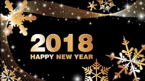 Vector background Happy New Year 2018. Vector black and gold background Happy New Year 2018 with snowflakes Royalty Free Stock Photo