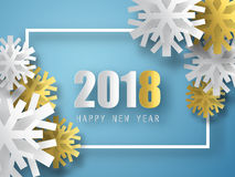 2018 vector background. Happy New Year greeting card. Christmas poster. Stock Image