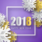 2018 vector background. Happy New Year greeting card. Christmas poster. Stock Photo