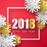 2018 vector background. Happy New Year greeting card. Christmas poster. Royalty Free Stock Photography