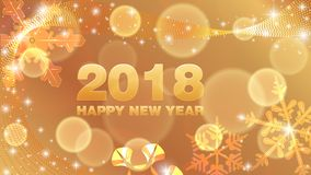 Vector background Happy New Year 2018. Vector gold background Happy New Year 2018 with snowflakes Stock Image