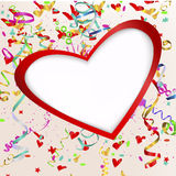Vector background with heart. Streamers and confetti royalty free illustration