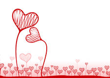 Vector background with hearts. Vector illustration. A background with hearts in the form of plants Stock Photos