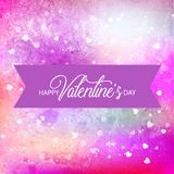 Vector background with hearts, Valentine`s Day, Women`s Day. Pink vector background with hearts, Valentine`s Day, Women`s Day. Watercolor. Vector illustration Stock Image