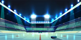 Vector hockey arena, ice rink with puck. Vector background of hockey arena, ice rink with black rubber puck. Sports stadium with spotlights for competition stock illustration