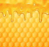 Vector background with honeycombs and honey stock illustration