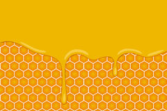 Vector background with honeycombs and honey cartoon style Royalty Free Stock Photo