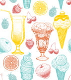 Vector background with ice-cream cocktail fruits Stock Images