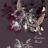 Vector background or illustration with birds and flowers Royalty Free Stock Photos