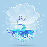 Vector background illustration with magic winter tree Stock Images