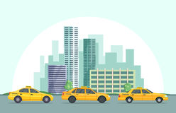 Vector background illustration of modern urban landscape with different buildings and taxi cars. Urban taxi cab and building downtown Royalty Free Stock Photos