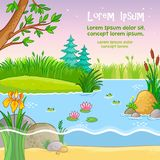 Vector background illustration with nature. Pond with frogs and plants in a children`s style vector illustration