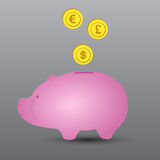 Vector background illustration pig and money Royalty Free Stock Image