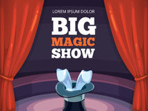 Vector background illustration with red curtain and arena. Vector poster template. Invitation for magic or circus show. Illustration with red curtain, big arena Stock Photography
