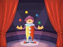 Vector background illustration with red curtain and clown Royalty Free Stock Photos