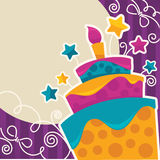 Vector background with image of birthday cake, candle and speech Stock Images