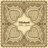 Vector background in indian ornamental style. Mehndi floral ornament. Hand drawn ethnic pattern Royalty Free Stock Photo