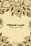 Vector background in indian ornamental style. Mehndi floral ornament. Hand drawn ethnic pattern. Henna tattoo theme Royalty Free Stock Photos